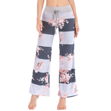 46248d04997 LELINTA Women s Plus Size Casual Yoga Pants Loose Fit Floral Printed Wide  Leg Trousers Pants Black Deep Gray Gray - Walmart.com