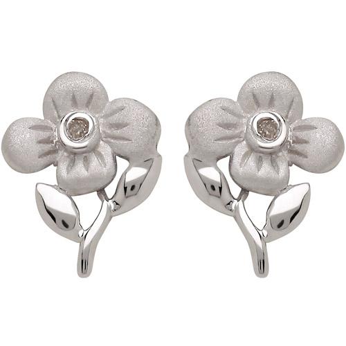 Sweet Treasures Girls' Diamond Accent Flower Sterling Silver Stud Earrings