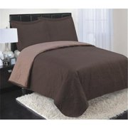 Luxury Home Reversible Coverlet Set, Chocolate - King - 3 Piece Set