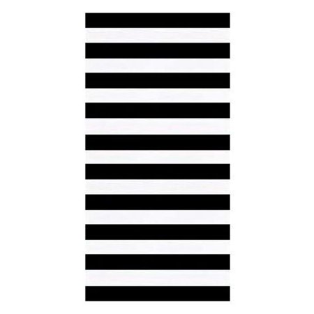 Horizontal Cabana Stripes Black Velour Resort Beach Towel 30x60 Inches