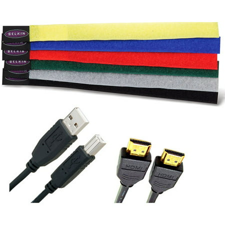 Most Popular Cables Bundle -- Cable Ties are included - Great for Tablet, Desktop and Notebook/Laptop Computer connections