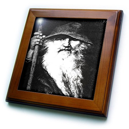 (3dRose Odin- odin, god, norse god, mythology, black and white, silhouette, norway, warrior, barbarian - Framed Tile, 6 by 6-inch)