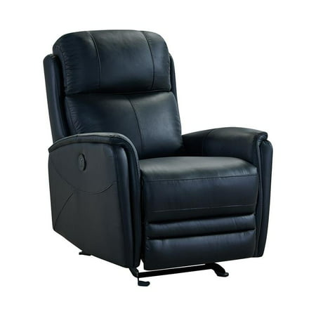 Finn Contemporary Black Top Grain Leather Power Recliner Chair with USB