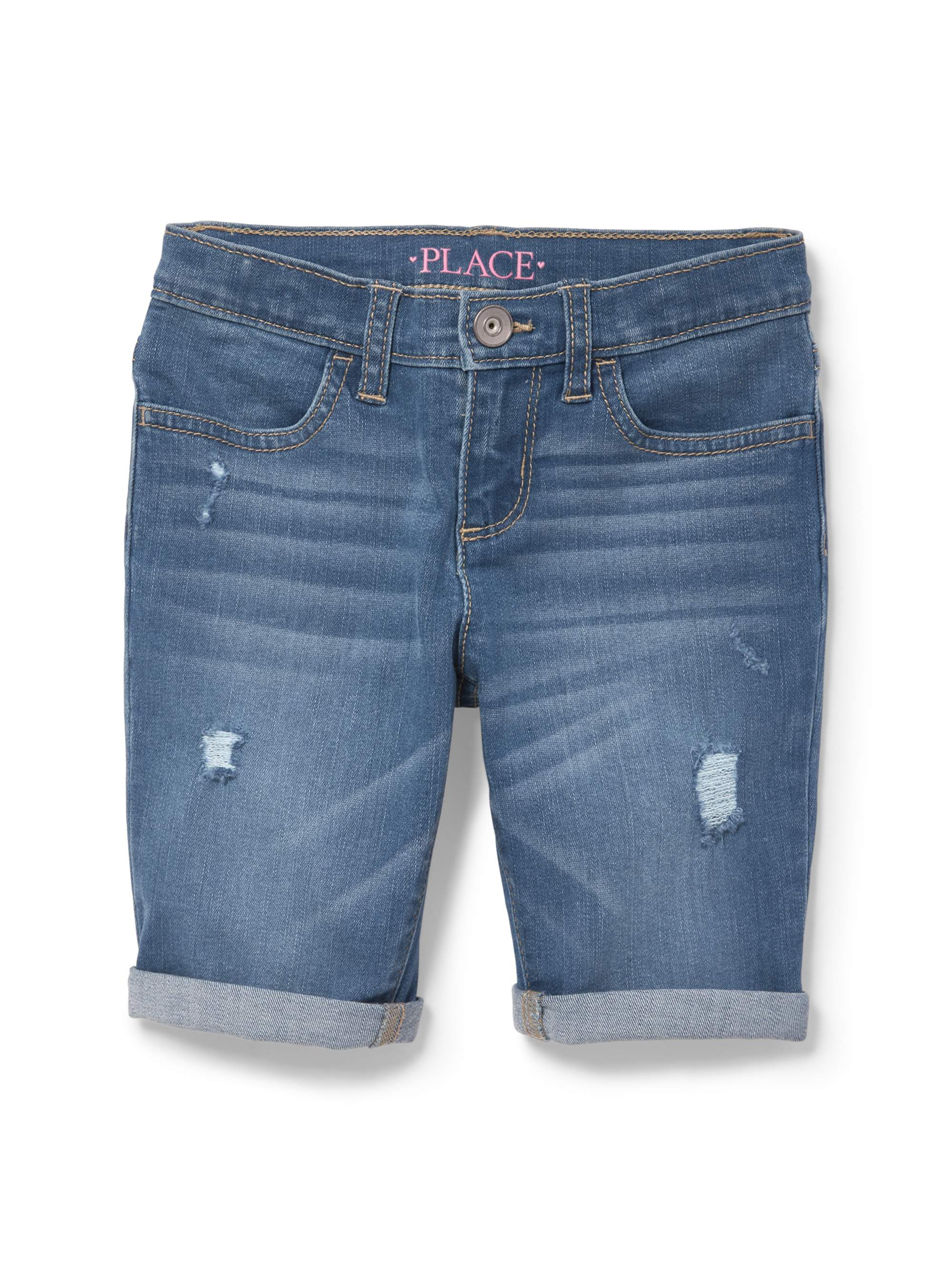 Destructed Denim Skimmer Short (Little Girls & Big Girls)