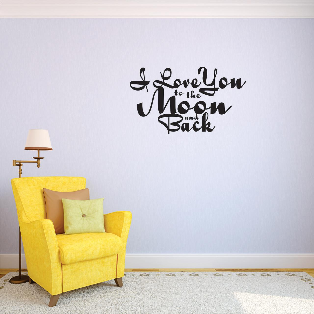 Custom Decals I Love You To The Moon And Back Wall Art Size: 10 Inches x 20 Inches Color: Black
