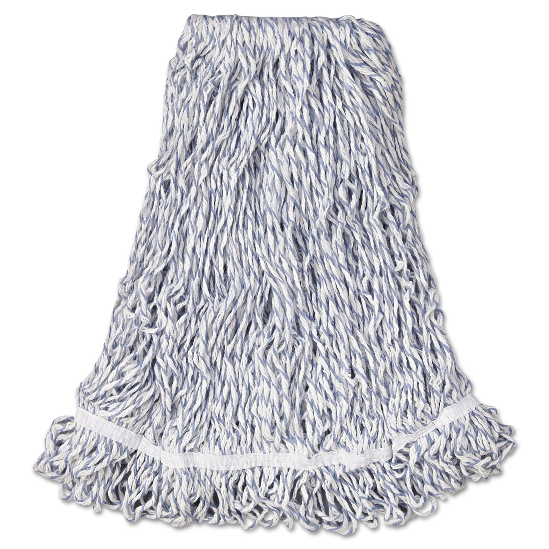 """Rubbermaid Commercial Large White Web Foot Finish Mops with 1"""" White Headband, 6 count"""