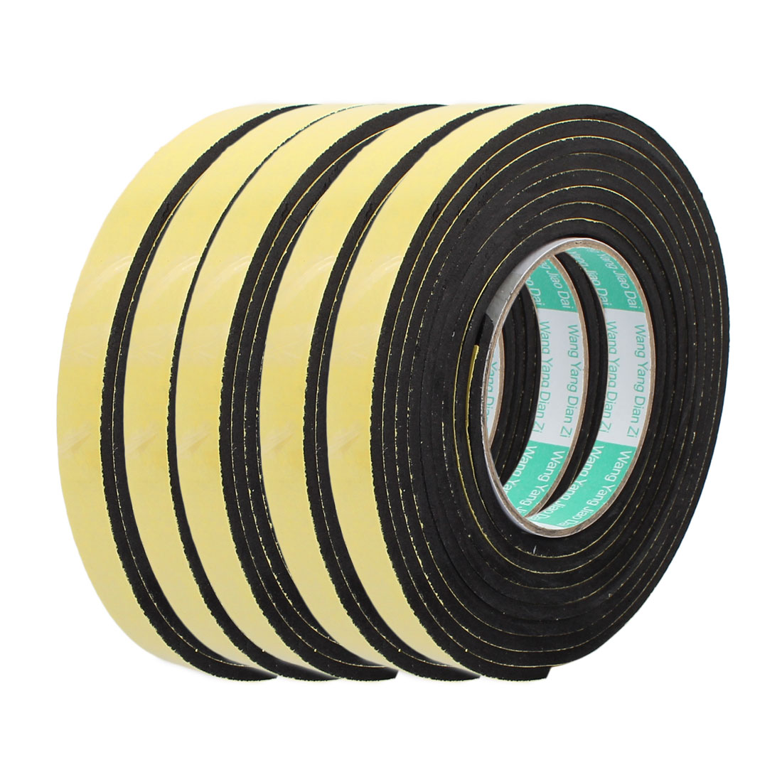 5 Pcs 3 Meter 15mm x 4mm Single-side Adhesive Shockproof Sponge Foam Tape Yellow