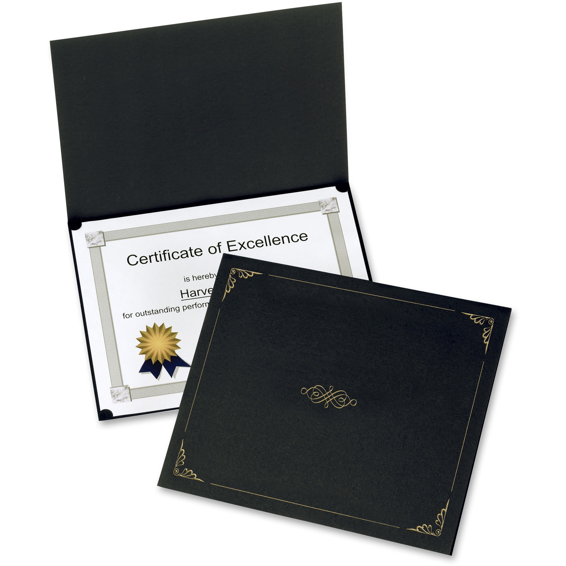 Oxford, OXF29900055BGD, Linen-finish Certificate Holders, 5 / Pack, Black