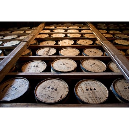 Canvas Print Wooden Kegs Distillery Barrels Bourbon Whiskey Stretched Canvas 10 x 14