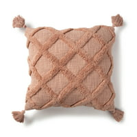 """Better Homes & Gardens Tufted Trellis Decorative Throw Pillow, 20"""" X 20"""", Coral"""