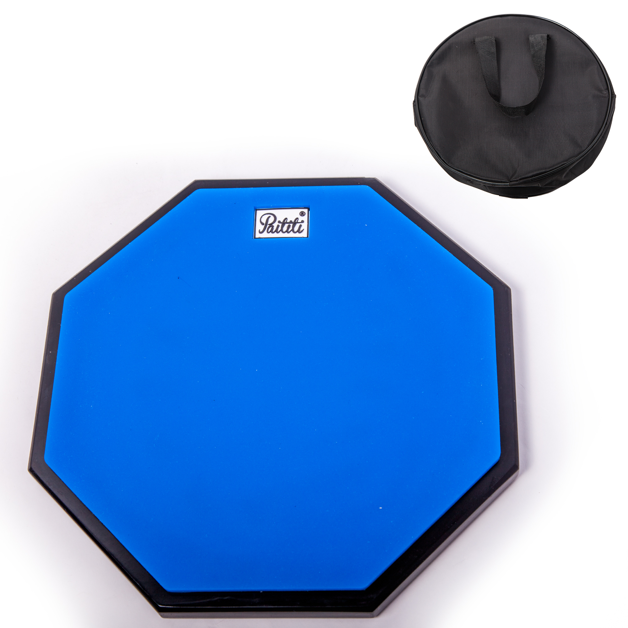 PAITITI 12 Inch Silent Portable Practice Drum Pad Octagonal Shape with Carrying Bag Blue Color - Bonus 7A Drumsticks