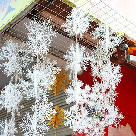 15 Pcs White Glitter Snowflake Hanging Ornaments, Christmas Tree Decorations Xmas Window Door Accessories Hot Sale Snowflake Snow Flake Xmas Christmas Tree Party Ornaments Decoration ()