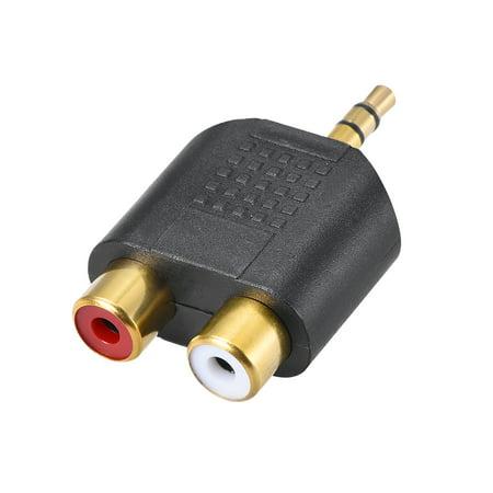 3.5mm Male to 2 RCA Female Connector Splitter Adapter Coupler Black for Stereo Audio Video AV TV Cable Convert - image 3 of 3