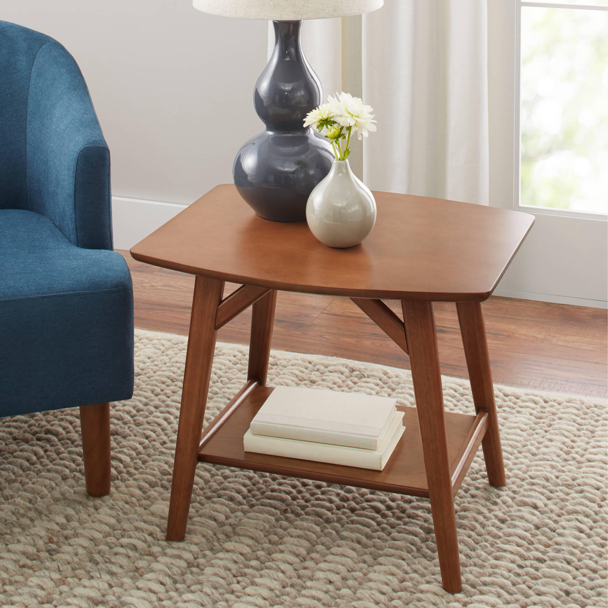 Better Homes Gardens Reed Mid Century Modern Side Table Pecan