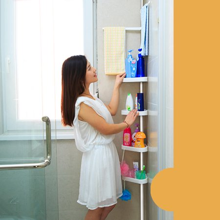 Ikayaa Height Adjustable Metal Bathroom Corner Shower