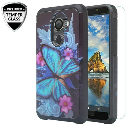 Shock Proof Silicone Case Cover for Jitterbug Smart 2, w/ Tempered Glass Screen Protector Hybrid Protective Phone Case for Jitterbug Smart 2 Easy-to-Use 5.5 - Blue Butterfly