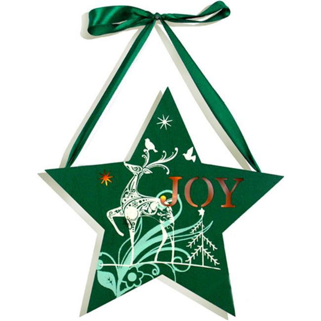 Unison Gifts MNA-102 10 In. Light Up Star Reindeer Plaque - Green, Joy