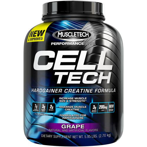 MuscleTech Performance Series Cell Tech Hardgainer Creatine Formula Grape Dietary Supplement Powder, 5.95 lbs