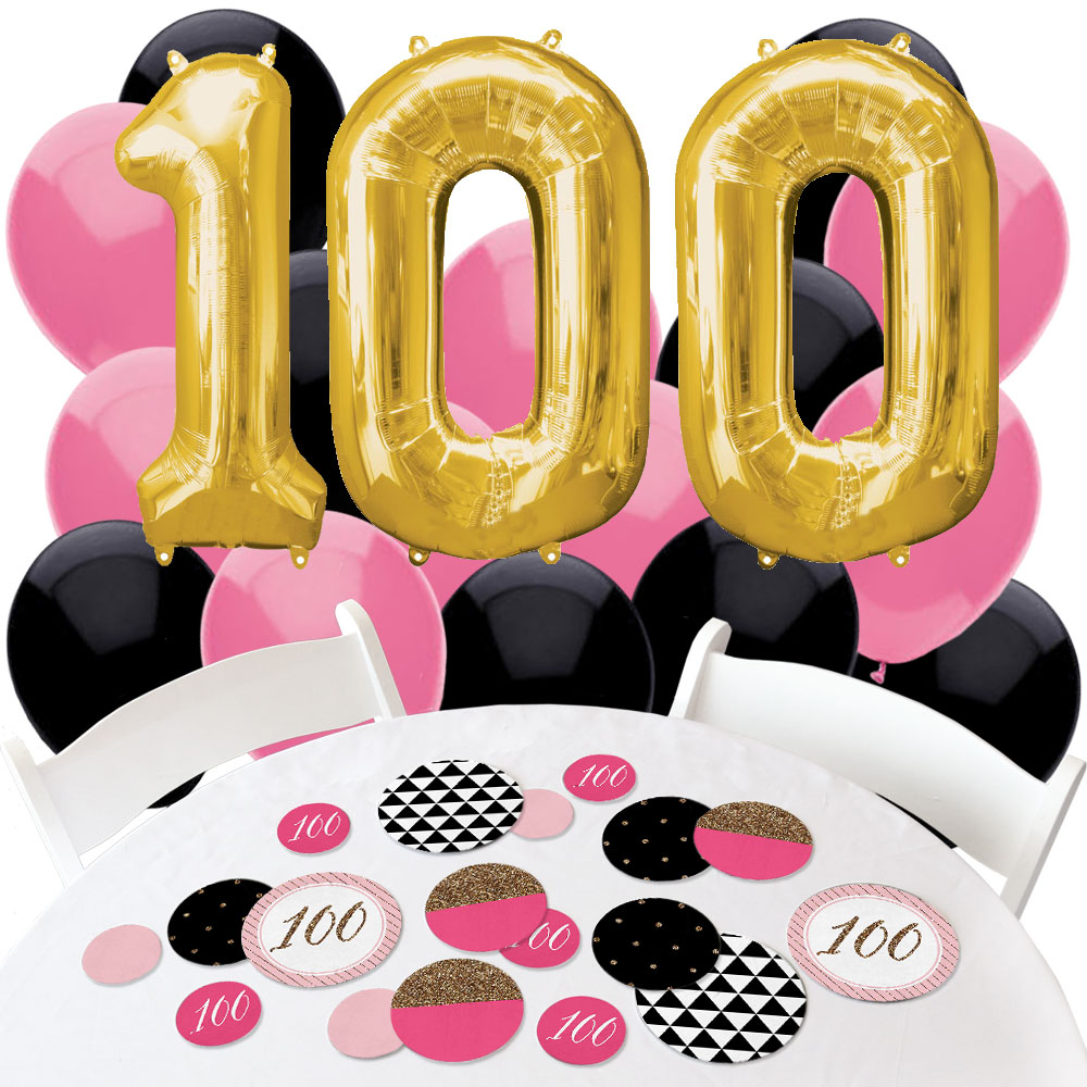 Chic 100th Birthday - Confetti and Balloon Party Decorations - Combo Kit