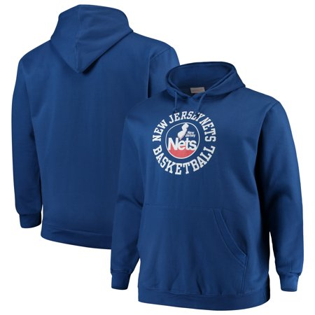 New Jersey Nets Mitchell & Ness Big & Tall Throwback Logo Pullover Hoodie - Blue