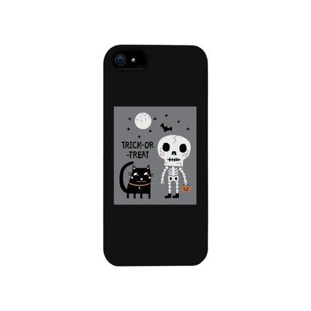Trick-Or-Treat Skeleton Black Cat Black Phone Case