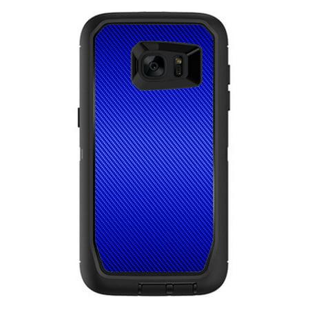 Skins Decals For Otterbox Defender Samsung Galaxy S7 Edge Case   Blue Carbon Fiber Graphite