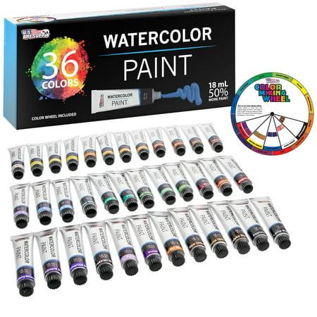 U.S. Art Supply 18ml Large Tube Premium Vivid Watercolor Artist Paint Set (36-Colors) Includes Bonus Color Mixing Wheel - Water Color Paint