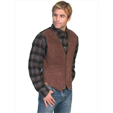 Mens Leather Wear Boar Suede Satin Back Vest, Expresso Boar Suede -