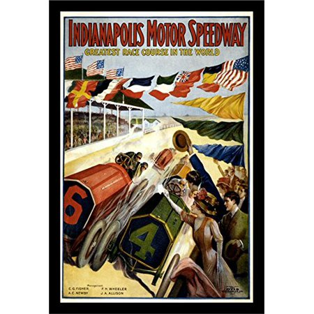 buyartforless IF VINT1013X 18x12 1.25 Black Plexi IF VINT1013X 18x12 1.25 Black Plexi Framed  Vintage Indianapolis Motor Speedway 1909 Greatest Race Course In The World Art Print poster,,18 X 12 ()