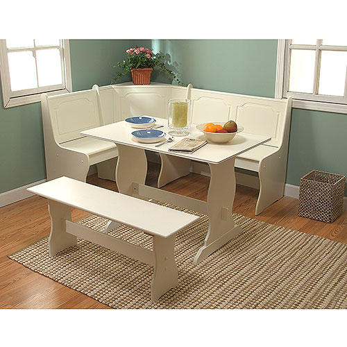 Breakfast Nook 4 Piece Corner Dining Set White Walmartcom