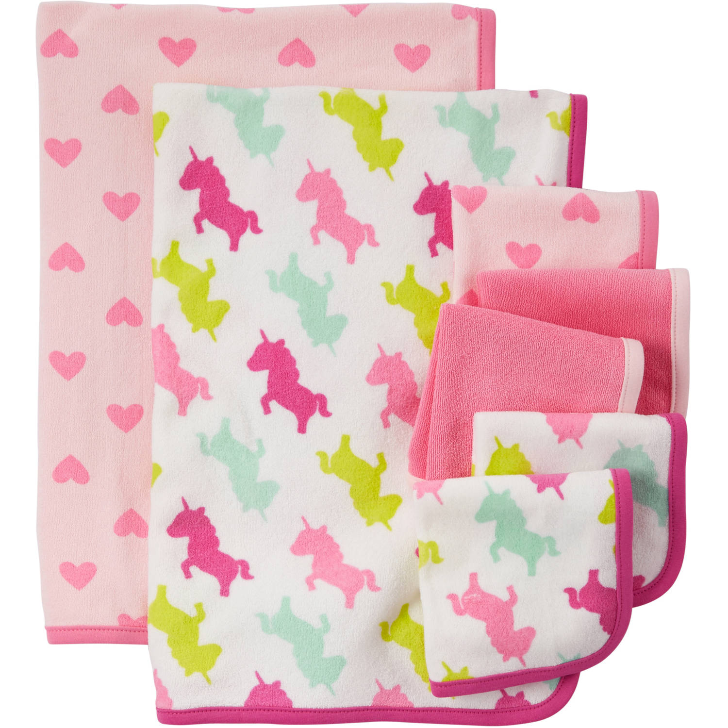 Child Of Mine Made By Carter's Newborn Baby Girl Washcloth And Towel Set, 7 Pack