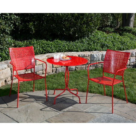 "Alfresco Home Martini 3 Piece Bistro Set in Cherry Pie Finish with 27.5"" Round Bistro Table and 2 Stackable Bistro Chairs"