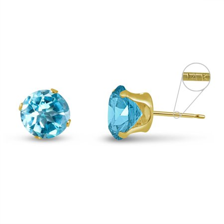 Round 8mm 14k Yellow Gold Genuine Sky Blue Topaz 4.5 cttw Stud Earrings, March Birthstone