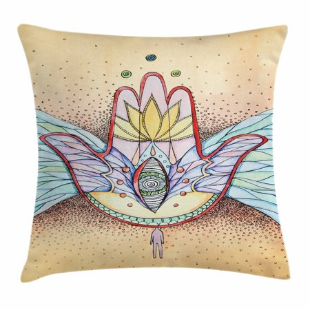 Wenge Accent (Hamsa Throw Pillow Cushion Cover, Abstract Hamsa Hand with Wings and Eye Artistic Mystical Spiritual Icon, Decorative Square Accent Pillow Case, 16 X 16 Inches, Turquoise Red Apricot, by)