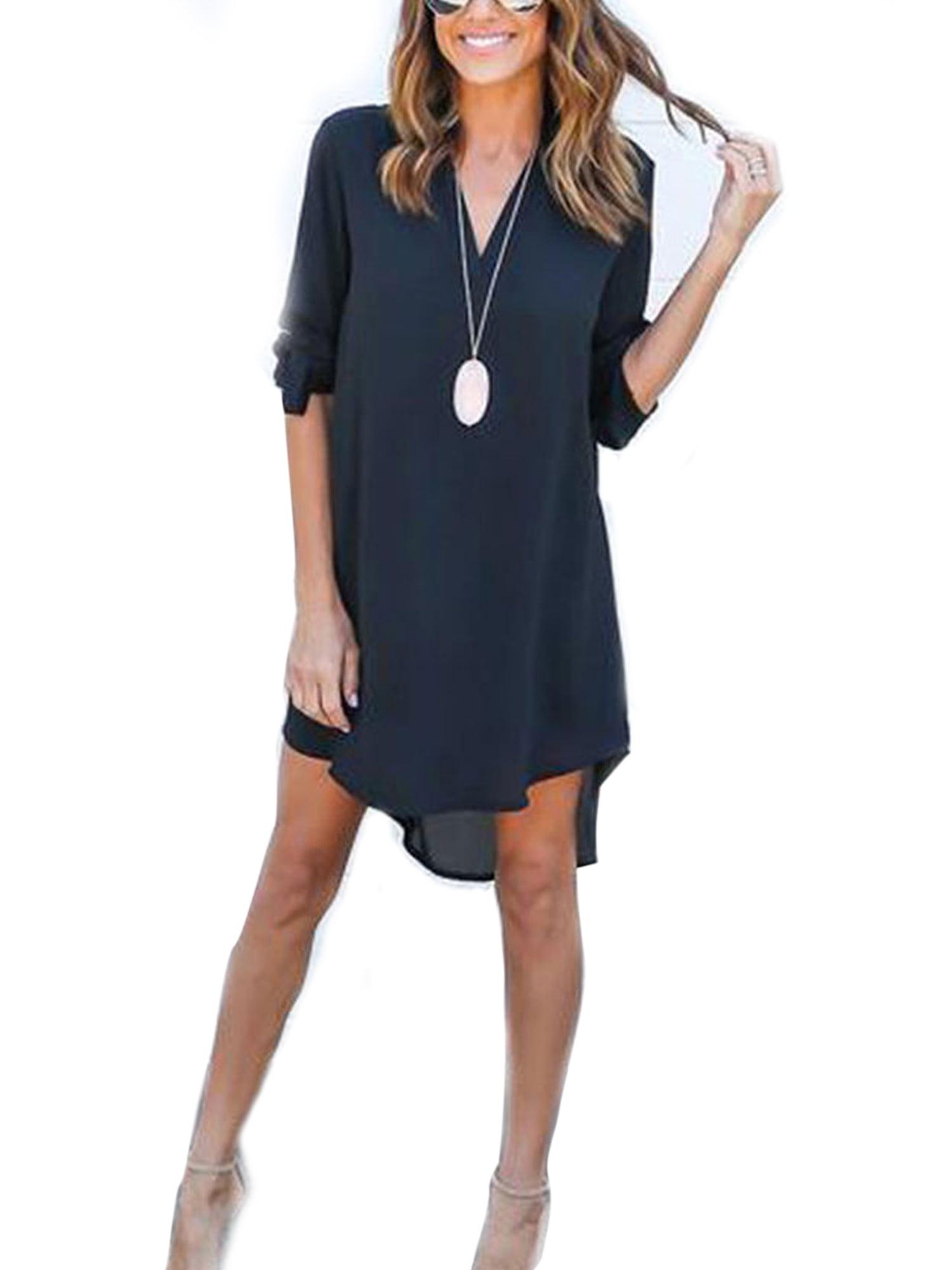 Himone Plus Women Chiffon Shirt Dress Summer V Neck Blouse Loose