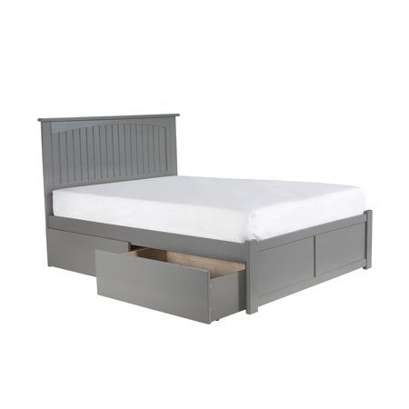 Nantucket Platform Bed with Flat Panel Foot Board and 2 Urban Bed Drawers, Multiple Sizes, Multiple Colors