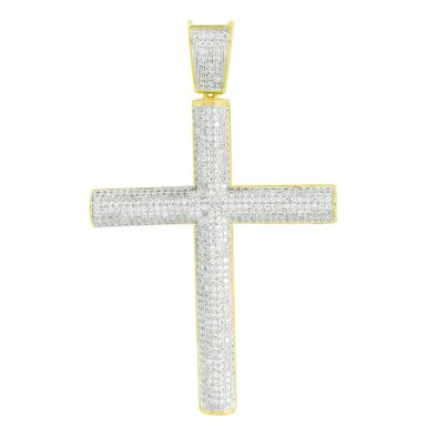 Design Cross Charm - Mens Gold Finish Cross Pendant Cylinder Design Lab Created Cubic Zirconia Iced Out Rapper Charm