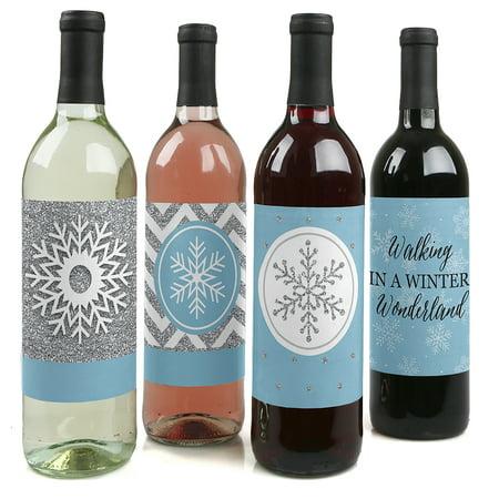 Winter Wonderland - Snowflake Holiday Party & Winter Wedding Wine Bottle Labels - Set of - Wedding Wine Bottle Labels