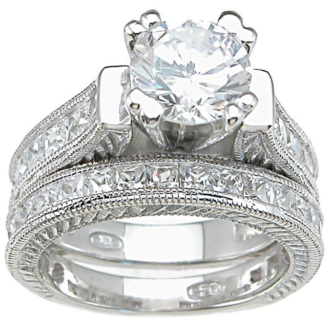 Plutus kkrs6302a 925 Sterling Silver Rhodium Finish CZ Princess Wedding Set Ring Size 6
