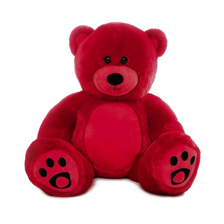 WOWMAX 3 Foot Giant Teddy Bear Danny Cuddly Stuffed Plush Animals Teddy Bear Toy Doll for Birthday Christmas Red 36 Inches