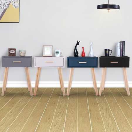 Jaxpety Bedside Table with a drawer and Wooden Legs Nightstand Living Room Bedroom End Table Living Room Furniture Gray ()