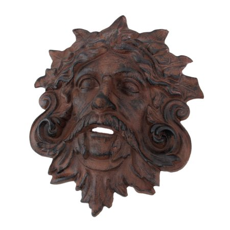 Cast Iron Celtic Green Man Wall Hanging Antiqued Finish