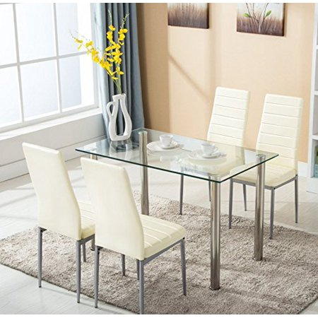 5pc glass dining table with 4 chairs set kitchen furniture