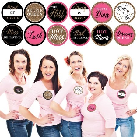 Girls Night Out - Bachelorette Party Name Tags - Party Badges Sticker Set of 12 (Bridesmaid Sashes Bachelorette Party)