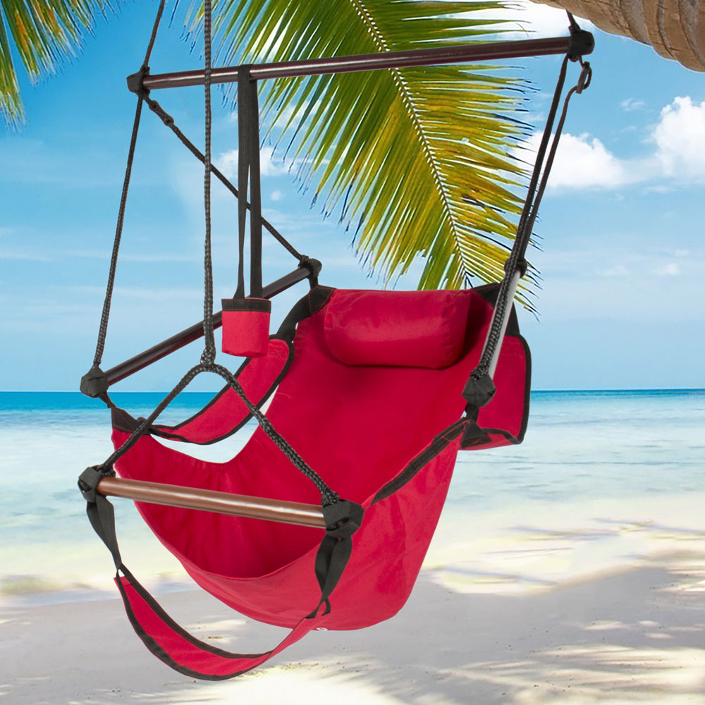 Zimtown Hanging Hammock Chair High Strength Swing Chair Rope Seat with Drink Holder, Armrest, Foot Rest Red - image 4 de 4