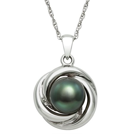 8-9mm 3/4-Cut Tahitian Black Pearl Love Knot Sterling Silver Pendant, 18""