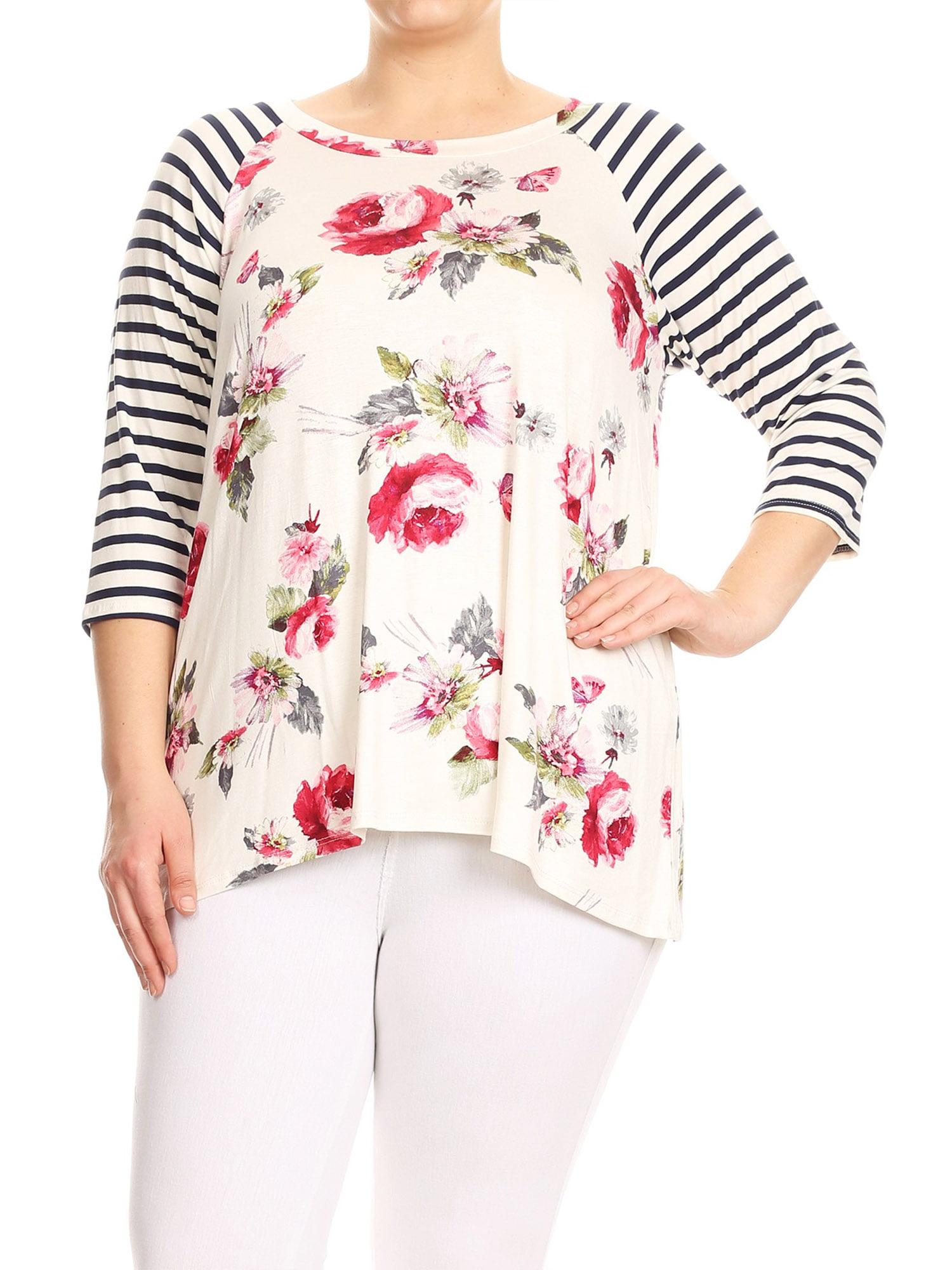 Plus Size Women's Trendy Style 3/4 Sleeves Print Top