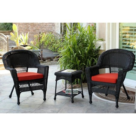 3 Piece Black Resin Wicker Patio Chairs And End Table Furniture Set Red Cushions