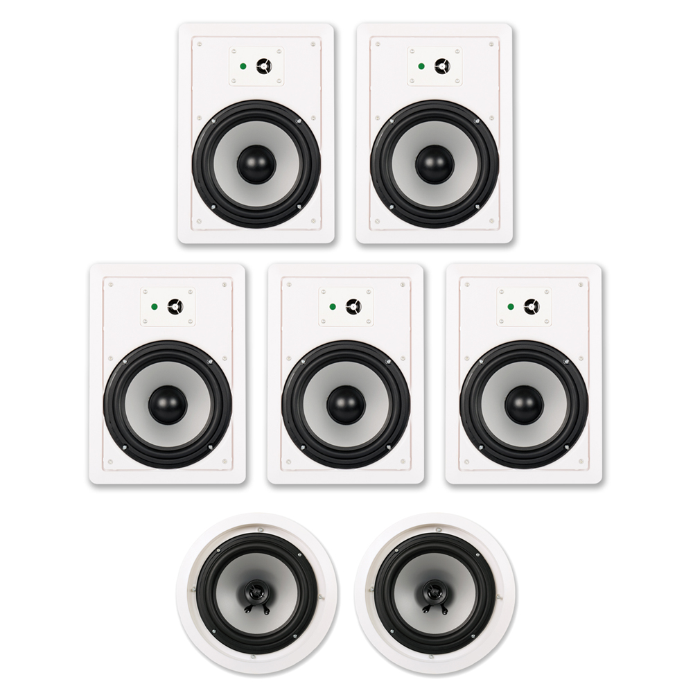 """Acoustic Audio CHT-827 2100 Watt In Wall / In Ceiling 8"""" Home Theater 7.1 Speaker System"""