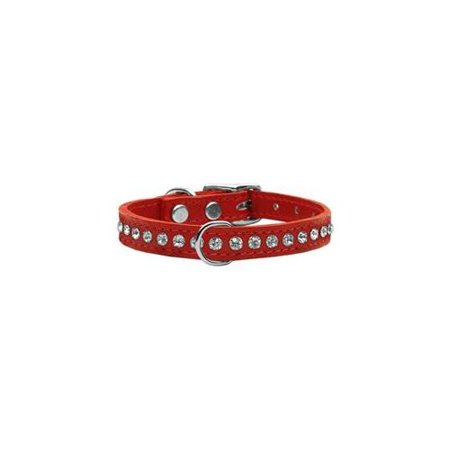 Mirage 83-04 12Rd One Row Clear Jeweled Leather Dog Collar Red 12